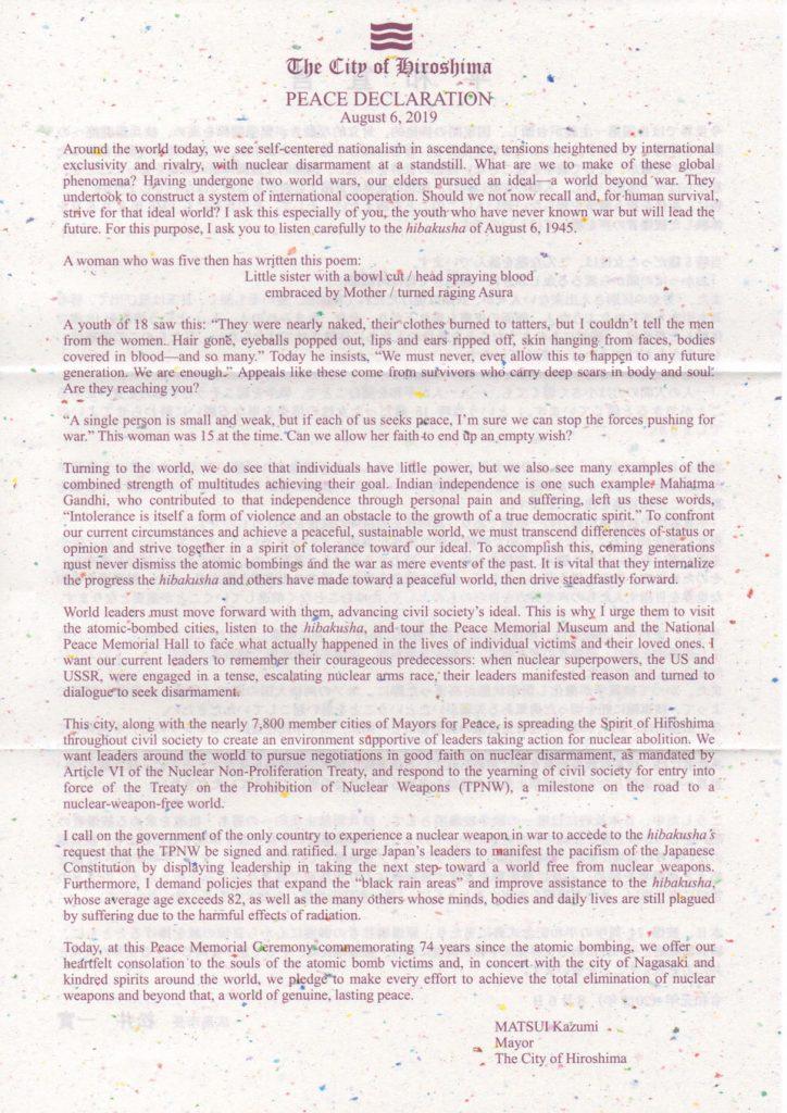 Peace Declaration