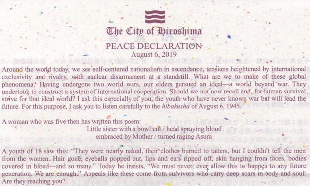 City of Hiroshima Peace Declaration – August 6th 2019