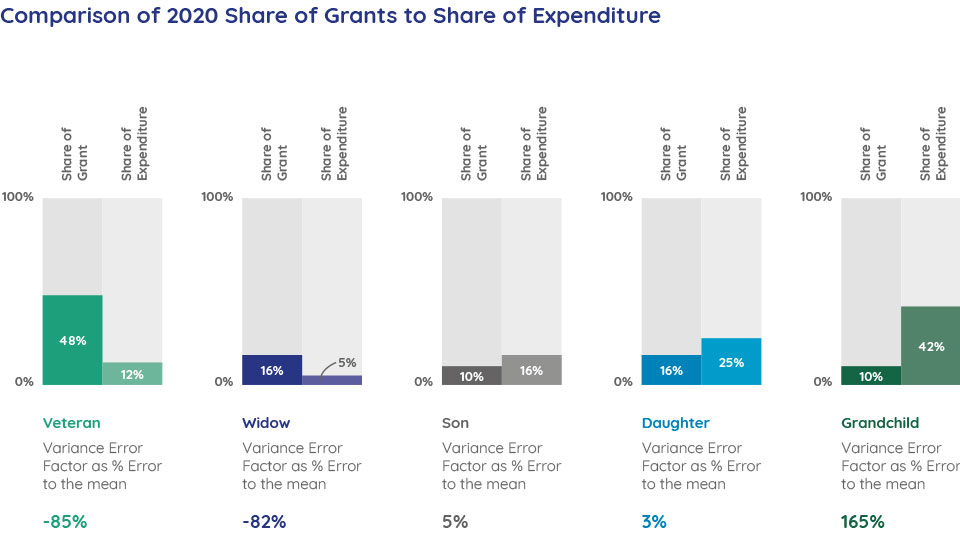 Comparison of 2020 Share of Grants to Share of Expenditure
